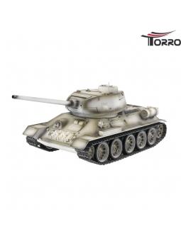 T34/85 RC Panzer 2.4 GHz Profi-Metall BB Schneetarn in einer Holzkiste